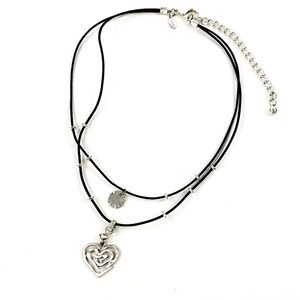 Chico's Boho Necklace Silver Heart Pendant